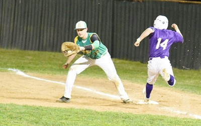 CHS senior Ryan Kearney tries to beat the ball to first.