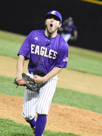 CHS senior Ryan Kearney reacts after striking out three batters to end the inning.