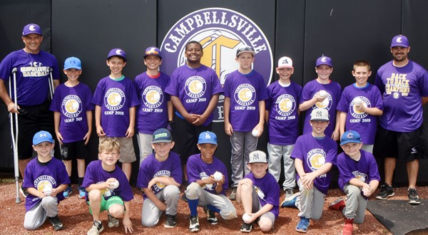Campbellsville High School baseball team recently hosted its annual youth camp, with about 20 attending. From left, front, are Ayden Stagner, a second-grader at Green County Primary School; Landry Brown, a first-grader at Campbellsville Elementary School; Jayce Gray; Tyce Owens and Kennon Davis, second-graders at CES; Brody Sidebottom, third-grader at CES; and Ryne Gumm, second-grader at CES. Back, CHS baseball assistant coach Lynn Kearney; Brayden Judd, fifth-grader at CES; Aiden Forrest, third-grader at CES; Carson Mills, fifth-grader at CES; KeKe Miller, sixth-grader at Campbellsville Middle School; Silas Young, a fifth-grader at Taylor County Elementary School; Cameron Estes, fifth-grader at CES; Stephen Green and Lanigan Price, fourth-graders at CES; and CHS baseball head coach Blake Milby.