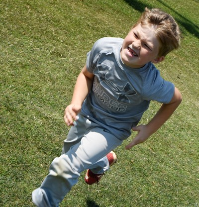 Campbellsville Elementary School first-grader Landry Brown practices running to first.