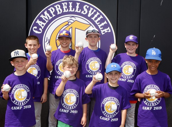 Campbellsville High School baseball team recently hosted its annual youth camp, with about 20 attending. This year's award winners are, from left, front, in the 7- and 8-year old category, Kennon Davis, a second-grader at Campbellsville Elementary School, throwing award; Landry Brown, first-grader at CES, hitting award; Ayden Stagner, second-grader at Green County Primary School, AAIT award; and Tyce Owens, second-grader at CES, base running award. Back, in the 9- to 12-year-old division, Lanigan Price, a fourth-grader at CES, hitting award; Carson Mills, fifth-grader at CES, base running award; Silas Young, fifth-grader at Taylor County Elementary School, throwing award; and Stephen Green, fourth-grader at CES, AAIT award. AAIT stands for Attitude, Approach, Intensity and Toughness, and is the CHS baseball motto.