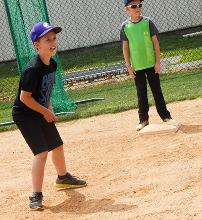 Campbellsville Elementary School third-grader Aiden Forrest practices running the bases.