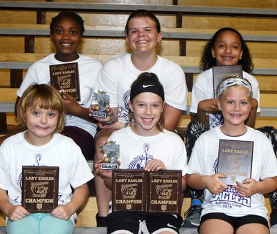 Campbellsville High School girls' basketball camp award winners are, from left, front, Campbellsville Elementary School third-grader Mylee Bell, hot shot winner in youth division; Kennedy Deener, hot shot, free throws and one-on-one winner in intermediate division; and CES first-grader Remi Petett, one-on-one winner in youth division. Back, Campbellsville Middle School sixth-grader Ta'Zaria Owens, one-on-one winner in middle school division; CMS sixth-grader Keeley Dicken, free throw winner in middle school division; and CES fifth-grader Alyssa Knezevic, hot shot winner in middle school division.