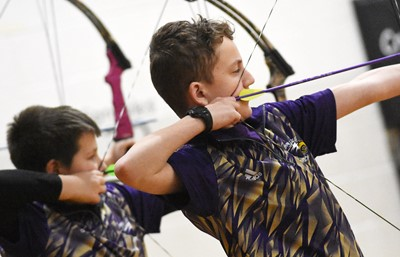Campbellsville Middle School seventh-grader Noah Leachman takes aim.