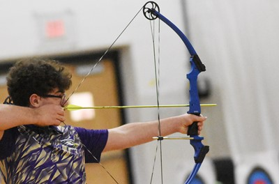 Campbellsville Middle School eighth-grader Maddox Lawler takes aim.