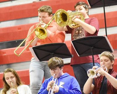 CHS Pep Band members play. From left, front, are freshman Adrianna Sluder and seniors Gavin Ford and Tristin Lopez. Back, senior Conner Riley and sophomore Kaine Terry.
