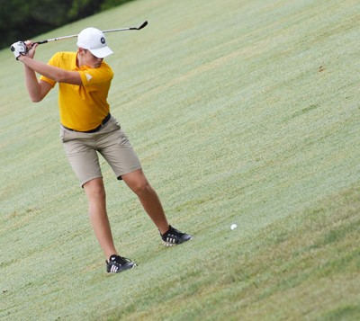 CHS senior Gavin Johnson hits the ball.