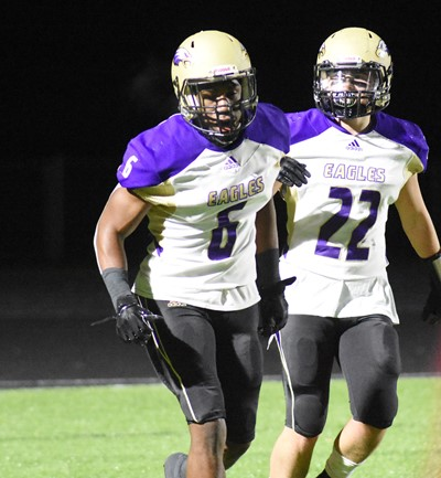CHS seniors Malachi Corley, at left, and Tyler Gribbins celebrate a touchdown.
