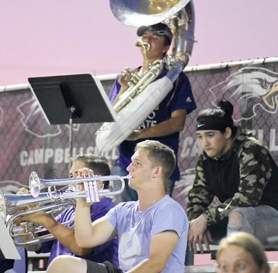 CHS senior Tristin Lopez plays trumpet with the pep band.