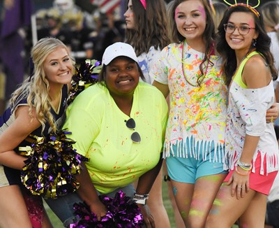 From left, CHS seniors Isabella Osborne and Jakyia Mitchell smile with sophomores Lainey Watson and Tayler Thompson.