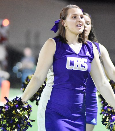 CHS senior Haley Morris cheers for the Eagles.