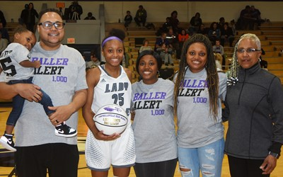 Campbellsville High School girls' basketball player Briante Gowdy recently joined the school's 1,000 Point Club. She is pictured with her family, from left, her father Bronson holding her sister BB, her sister Tay Shively, her mother Tonya and her grandmother Debbie Gowdy-Smith, who is an assistant coach.