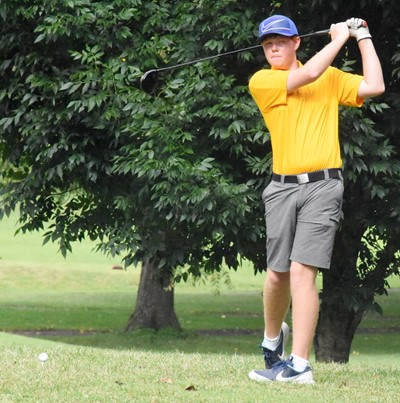 CHS junior Colin Harris takes a practice swing.