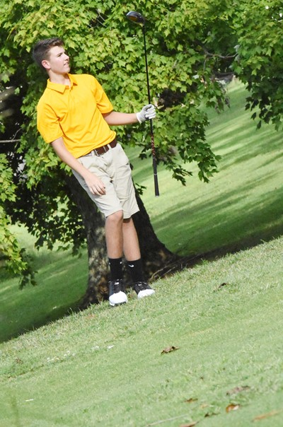 CHS freshman Bryce Newton watches his shot.