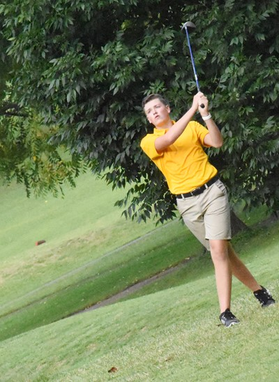 CHS senior Gavin Johnson tees off.