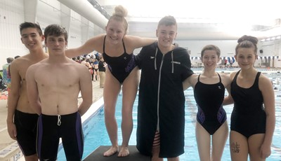 "CHS swim team recently competed in the Class ""A"" Invitational. From left are freshmen Tyler Smith and Seth Hash, seniors Isabella Osborne, Gavin Johnson and Gracyne Hash and Campbellsville Middle School eighth-grader Mollie Bailey."