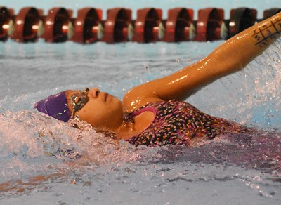Campbellsville Middle School sixth-grader Natalie Contreras swims.