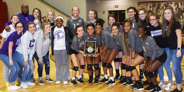 Campbellsville High School junior varsity volleyball team recently won this year's 20th District tournament championship. From left, front, are CHS sophomore Sarah Adkins, Campbellsville Middle School eighth-graders Braelyn Price and Ellington Gowin, assistant Latavia Shively, sophomores Tayler Thompson, Alexis Thomas and Bri Gowdy, junior Laci Hodgens, freshman Antaya Epps and sophomore Myricle Gholston. Back, senior Shelby Smith, head coach Anthony Epps, sophomore Kaylyn Smith, eighth-graders Chloe Thompson and Ava Hughes, freshman BreAnna Humphress, juniors Chloe Garrett, Anna Clara Moura and Zoie Sidebottom and sophomores Rylee Petett and Lainey Watson.