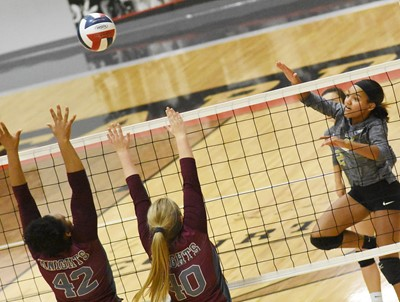 CHS sophomore Alexis Thomas hits the ball.