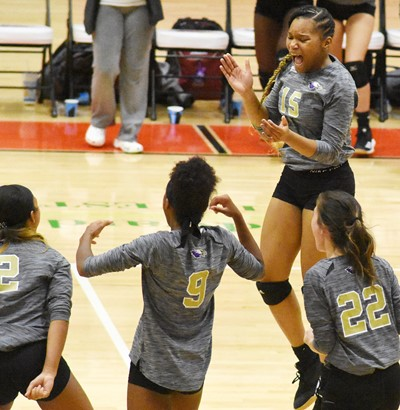 CHS freshman Antaya Epps celebrates the win with her teammates.