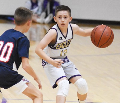 Campbellsville Elementary School fifth-grader Lanigan Price controls the ball.