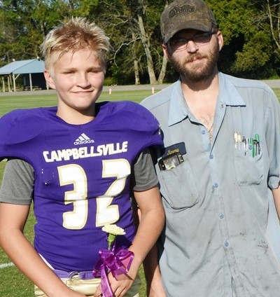 CMS eighth-grader Dakota Tungate is honored, with his father Jimmy.