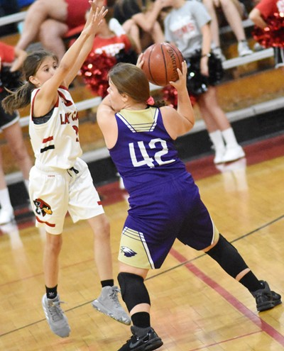 CMS seventh-grader Keeley Dicken looks to pass.