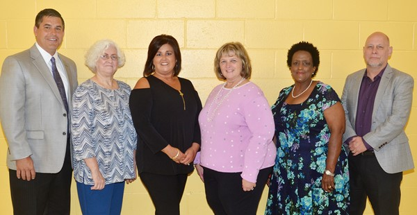 From left are Campbellsville Independent Schools Superintendent Kirby Smith, Board Chair Pat Hall, members Suzanne Wilson, Angie Johnson and Barkley Taylor and Vice Chair Mitch Overstreet.