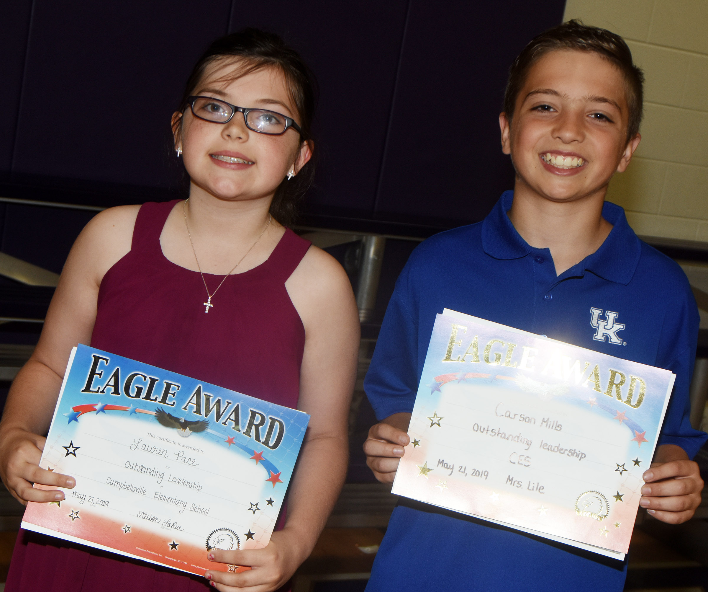 CES fifth-graders receiving the Overall Excellence award are Lauren Pace, at left, and Carson Mills.
