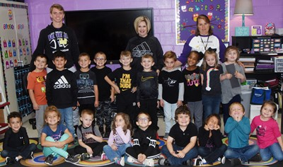 Students in Nikki Price's kindergarten class wear black for Color Week.