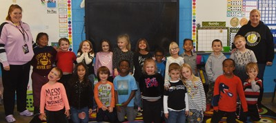 Students in Ann-Michael Tucker's kindergarten class wear black for Color Week.
