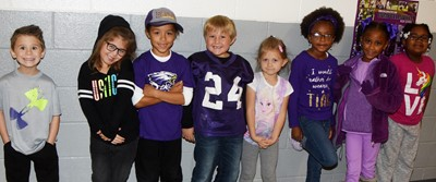 CES students wear purple for Purple Pride Day.