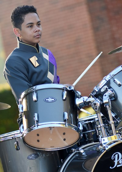 Campbellsville Middle School eighth-grader Diego Noyola plays drums.