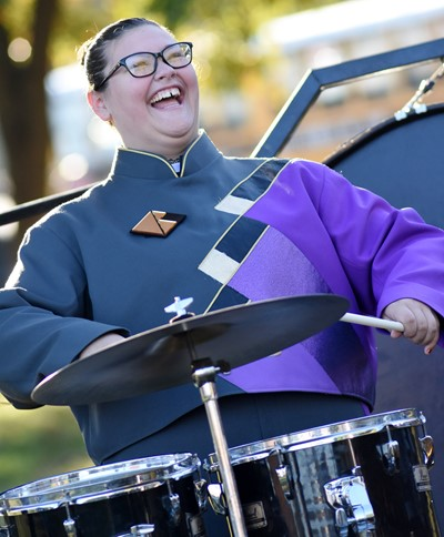Campbellsville Middle School eighth-grader Allison Sumners plays percussion.