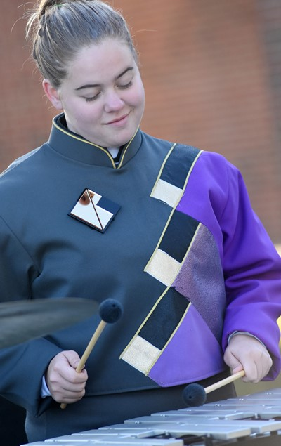 Campbellsville Middle School eighth-grader Layla Steen plays percussion.