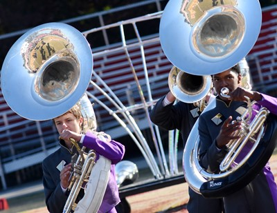 CHS freshman Tyler Booth, at left, and junior Zaquan Cowan play tuba.