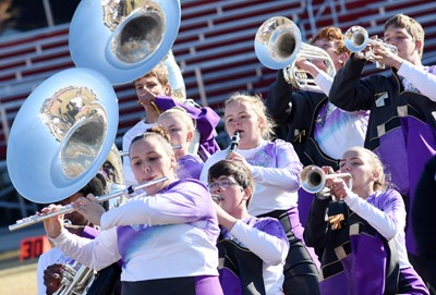 CHS marching band members perform.