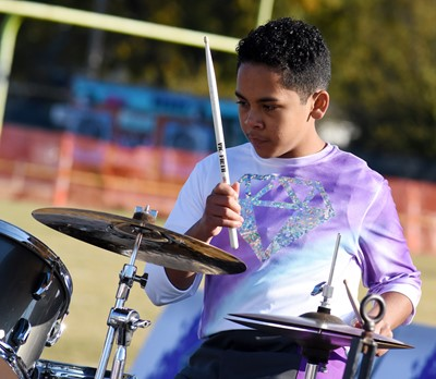 Campbellsville Middle School eighth-grader Diego Noyola plays percussion.