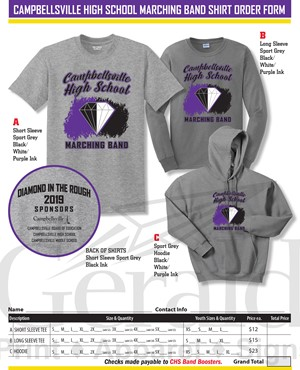 Campbellsville High School Marching Band is selling t-shirts and sweatshirts as a fundraiser.    The shirts feature the logo for this year's show, which is entitled Diamond in the Rough.    Short- and long-sleeve t-shirts are available, as well as hooded sweatshirts.