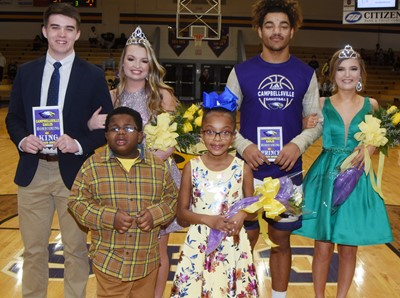 CHS crowned its basketball homecoming king and queen on Thursday, Feb. 13. In front are flower girl and crown bearer, Campbellsville Elementary School first-grader Daya Griffin and kindergartener Kareem Smith. Back, king and queen, seniors Cole Kidwell and Kaleigh Hunt, and prince and princess, juniors Reggie Thomas and Carly Adams.