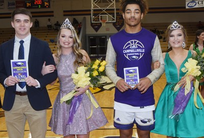 CHS crowned its basketball homecoming king and queen on Thursday, Feb. 13. From left are king and queen, seniors Cole Kidwell and Kaleigh Hunt, and prince and princess Reggie Thomas and Carly Adams, representing the junior class.