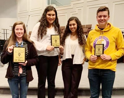CHS Beta Club members swept the performing arts competition at the Central Kentucky Beta Invitational. Winners are, from left, senior Gracyne Hash, who won first place; junior Anna Clara Moura and sophomore Bia Moura, who won second place; and senior Gavin Johnson, who was third.