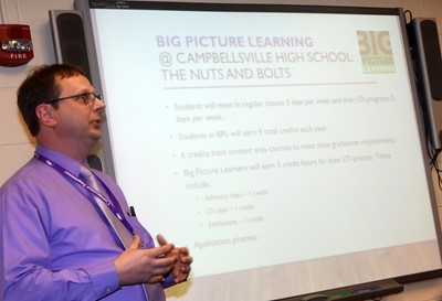 CHS Guidance Counselor Richard Dooley talks about the Big Picture Learning program at Big Picture Night. The program will begin at CHS in the 2019-2020 school year.