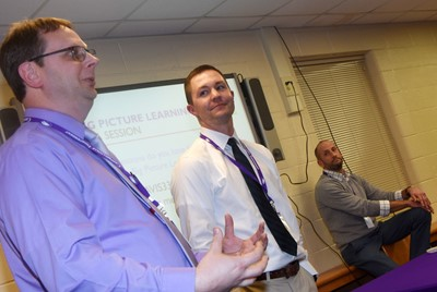 CHS Guidance Counselor Richard Dooley, at left, and CHS Principal Weston Jones talk about the Big Picture Learning program at Big Picture Night. The program will begin at CHS in the 2019-2020 school year.