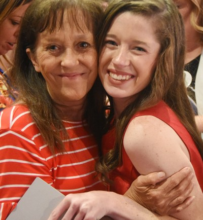 CHS senior Gracyne Hash smiles for a photo with her grandmother, Gayle Skaggs.