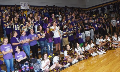 CHS students cheer at the pep rally.
