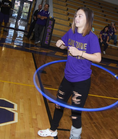 CHS senior Bailey Thompson hula hoops.