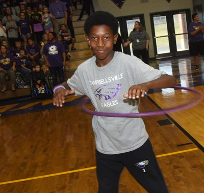 CES fifth-grader Jaron Johnson hula hoops.