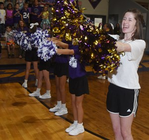 CHS senior Gracyne Hash cheers at the pep rally.
