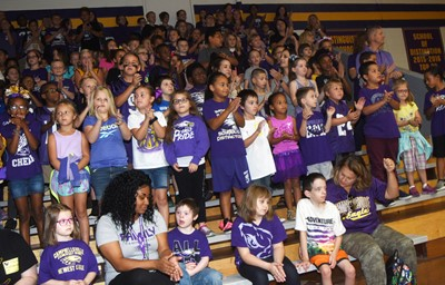 CES students cheer at the pep rally.